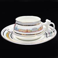 Coffee Cup & Saucer, Lomonosov Porcelain, embankment Neva river, IFZ, Russia