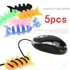 FD1595  Fish Bones Earphone Headphone Cable Cord Organize Wrap Wind ~Random 5PCs
