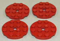 LEGO - 4 x Rundplatte dunkelrot 4x4 / Rundplatten dunkel - rot / 60474 NEUWARE