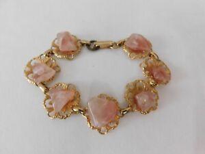 """Vintage Gold Plated Floral Filigree Pink Quartz Agates Bracelet 7 1/2"""""""