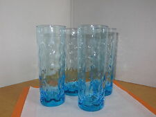 Highball Glasses 8oz.Vintage 50's Blue Dimpled Tall  Set Of 4 Retro 50's Barware