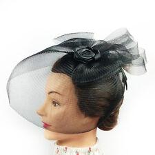Fascinator - Black Flower Net Mesh Hair Clip (STS012)