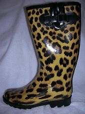 Bumper Rain/Snow Rubber Boots Leopard Animal Print Size 6.5