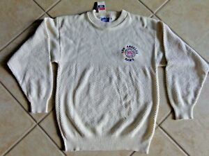 VINTAGE Los Angeles Rams Cable Knit Sweater Pull Over Old School Logo Very Rare