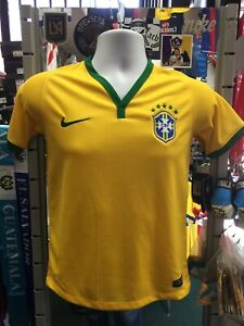 Nike Brazil Home Yellow Green 2014 soccer jersey Size YM Boy's Only