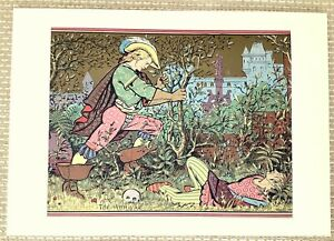 1871 Antique Print Sleeping Beauty Prince Charming Victorian Gothic Fairy Tale