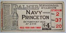 1929 NAVY vs PRINCETON Football Ticket Stub PALMER MEMORIAL STADIUM October 26