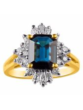 Baguette Diamond & Emerald Cut Sapphire Coctail Ring Set in 14K Yellow Gold LR-5