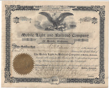 Stk Mobile Light & Railroad Co. 1904 See GREAT  INFO image  Mobile, Alabama