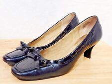 Kitten Heels 8M Black Moc Croc Bow Square Toe Pumps Karen Scott