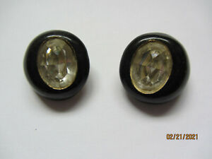 VINTAGE PAIR KENNETH JAY LANE BLACK OVER GOLD TONE LARGE OVAL CRYSTAL EARRINGS