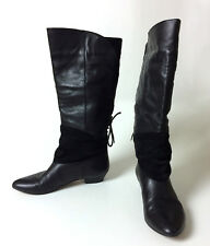 ALDO Black Leather Suede Knee High Riding Victorian Steampunk Boots SZ 36 US 6