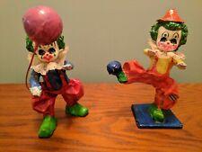 Vintage Paper Mache Clowns (2) Signed Mexico/Mex