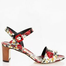 Dolce & Gabbana EUR 38.5/US 8.5 Womens Patent Leather Floral Heels CR0080AC5158