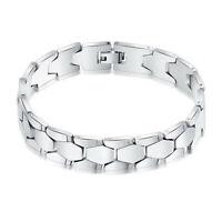 Hot!Men Elegant Jewelry Stainless Steel Diamond Shape Link Chain Bracelet Bangle