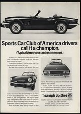 1971 TRIUMPH SPITFIRE Convertible Sports Car SCCA Champion VINTAGE ADVERTISEMENT