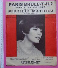 partition PARIS EN COLERE - Mireille Mathieu - M. Vidalin, M. Jarre - Salabert