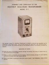 Heathkit Isolation Transformer,  IT-1 Manual