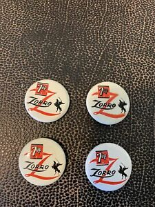1957 Walt Disney productions 7UP Zorro advertising pins. Buttons. Lot of 4 VGC
