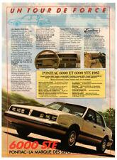 1985 PONTIAC 6000 STE Vintage Original Print AD - White car photo Canada French