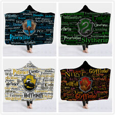 Magic School Crest Hooded Blanket Cozy Warm Flannel Throw Cloak for Couch Travel