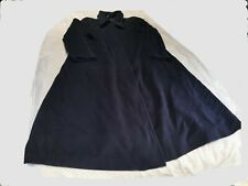 LAURA ASHLEY VINTAGE PURE NEW WOOL NAVY MAXI SWING COAT - SIZE 12