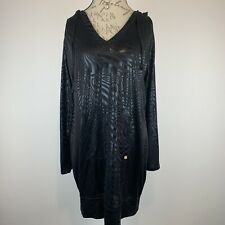 Apple Bottoms Women's Summer Cover Up Hoodie Silky Black Animal Print Size XL