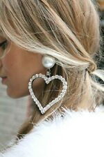 ALESSANDRA RICH Crystal Huge Heart  Massive Clip Earrings Signed Retail $232