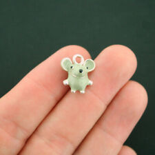 2 Mouse Charms Silver Plated and Grey Enamel Adorable 3D - E242 NEW6