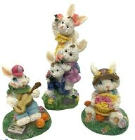 Vintage Easter Bunny Family Enjoying Spring Poly Resin Figurines