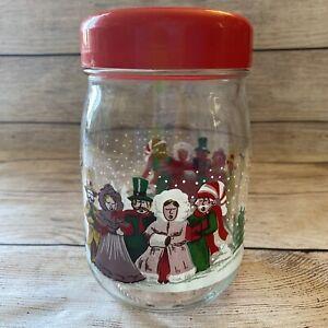 Vtg 70's Christmas Carolers Glass Jar w/ Red Plastic Lid Made in France 1 Liter