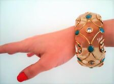 Isharya Bracelet Cuff Bangle Acrylic Resin Crystal Gold Tone Turquoise Blue