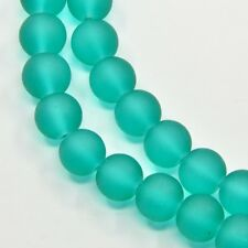 Strand 200+ 4mm Frosted Sea Green Glass Plain Round Beads UK