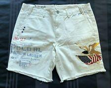 Polo Ralph Lauren 32 waist White Embroidered Eagle + American Flag Cutoff Shorts