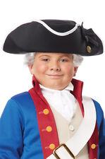 Colonial Soldier Child George Washington Tricorn Costume Hat Black