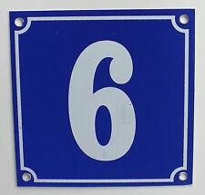 """Aluminium Hausnummer """"6"""" 10x10cm blau Hausnummernschild sofort lieferbar Schild"""