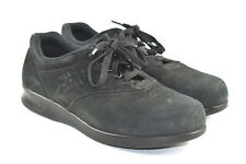 SAS Black Suede Free Time Sneakers Lace up Orthopedic Shoes Womens 7.5 WW