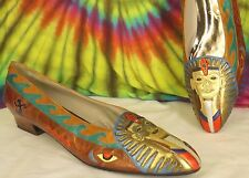size 8.5-9-9.5 vtg 80s bronze leather MAGARET J Jerrold Egyptian Tut pumps shoes