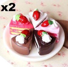 2PC Miniature Dollhouse Triangle Cake Re-ment Garden Fairy Bonsai Decor Craft  A