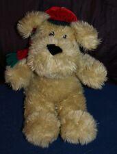 "Christmas Holiday Dog Stuffed Animal - W/ Velvet Hat & Scarf -16""H -3+Yrs"