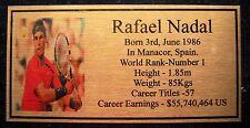 Tennis Rafael Nadal Picture Gold Plaque Free Post