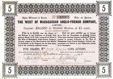 Original 1906 The West Madagascar Anglo French Co 5 shares £5 Uncancelled coupon