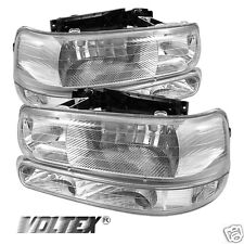 2000-2006 CHEVY SUBURBAN 1500 2500 CRYSTAL HEADLIGHTS AMBER LIGHTBAR CHROME