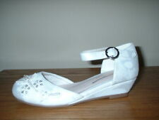 MONSOON GIRLS WHITE BEADED ANKLE STRAP WEDGE BRIDESMAID WEDDING   SHOES 12/30
