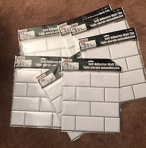 "Seven Tool Bench Hardware Self Adhesive White Wall Tiles -12x12"" Subway Tile New"