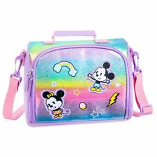 Disney Authentic Mickey & Minnie Mouse Rainbow Artwork Lunch Tote School Bag Nwt