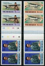 NICARAGUA CHARLES LINDBERGH 50th ANN LOT 10  TWO RARE FOLDED GUTTER PAIRS  MINT