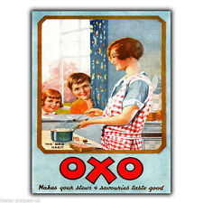 Oxo vintage ancien rétro publicité métal mural signe plaque cuisine poster print 1928