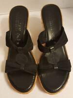 Italian Shoemakers Womens Sz 10 Black Wedge Heel Sandals Shoes Slip On