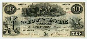 1857 $10 The Citizens Bank of Gosport - Gosport, INDIANA Note AU/UNC